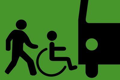Piktogramme Rollstuhlfahrer Helfer Bus